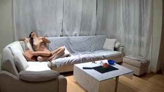 Carla Naked in Her Living Room