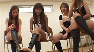 Group of japaneses femdom with boots